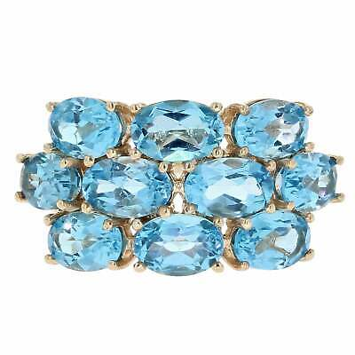 Womens 9ct Yellow Gold Blue Topaz Cluster Ring Size J.5 • 149£