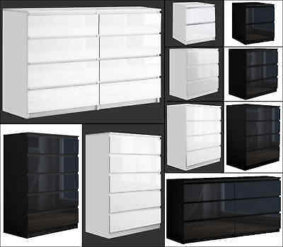 £139.99 • Buy High Gloss Chest Of Drawers Tall Wide Bedside Table Cabinet Bedroom Furniture
