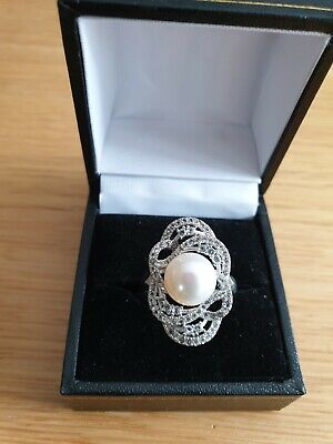 925 Sterling Silver Cultured Pearl & Topaz Ring Size P New & Unworn In Vgc • 19.99£