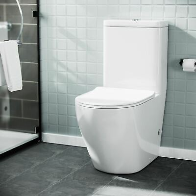 Compact 2 In 1 Basin Sink And Close Couple Toilet And Seat Combo Set Space Saver • 179.99£