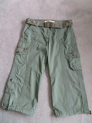 M&s Ladies Cargo Trousers Cropped Size 12 Khaki With Belt - Excellent Cond • 0.99£