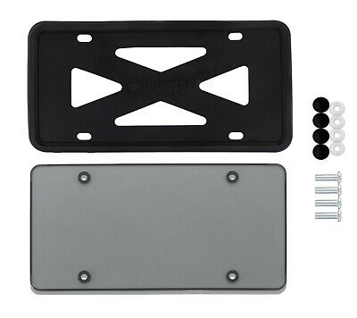$12.50 • Buy Silicone Black License Plate Frame With Cover -1 Set Flat Smoked License Plate