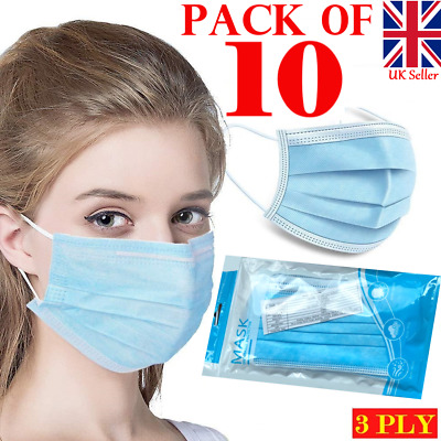 £0.99 • Buy 3ply Face Mask Surgical Disposable Mouth Cover Breathable Respiration Dust 10 X
