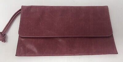 """$ CDN90.14 • Buy Mo851 Red Leather Clutch W/ Wrist Handle 10"""" X 6"""" Made In Canada"""