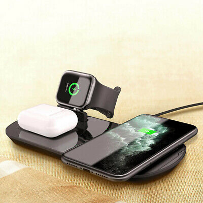 $ CDN23.42 • Buy 3in1 Qi Wireless Charger Pad Mat For Apple Watch 5/4/3/2/1 Airpod IPhone 11 8 XS