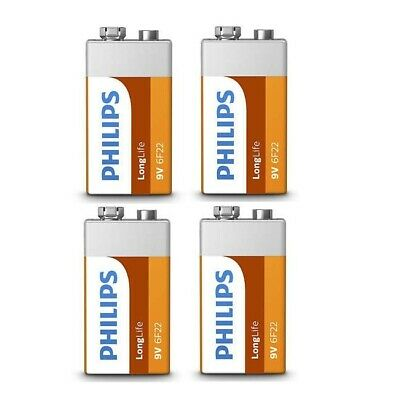 4 Pack Philips 9v 9 Volt Pp3 Zinc Chloride Batteries For Smoke Alarm Long Life • 3.49£