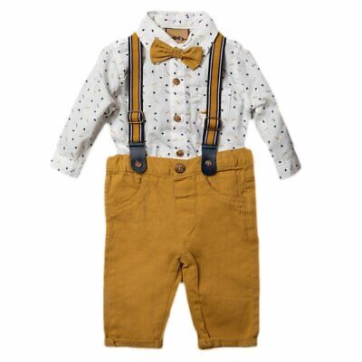 Baby Boys Little Gent Formal Outfit Bodysuit Shirt Bow Tie Braces Chino Trousers • 18.95£