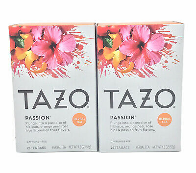 TAZO Passion Herbal Tea Filterbags - (2) 20 Count Boxes - Exp 3/18/2022 • 7.86£