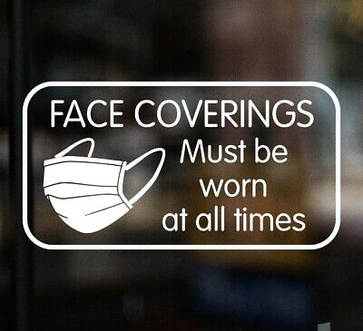 £3.99 • Buy FACE COVERINGS MUST BE WORN AT ALL TIMES Shop Sign Window Sticker Cafe Mask Taxi