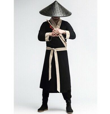 $43.20 • Buy Mens Long Sleeve Robe Jackets Solid Cosplay Chinese Style Ancient Swordsman New