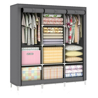 Five Style Portable Canvas Wardrobe Clothes Cupboard Hanging Rail Storage New • 27.58£