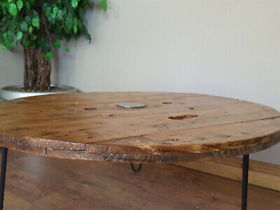 Extra Large Industrial Wooden Cable Reel Drum Round Coffee Table  • 135£