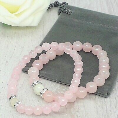 Handmade Moonstone & Rose Quartz Gemstone Stretch Chakra Bracelet & Velvet Pouch • 4.79£