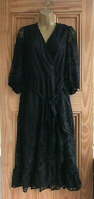 OASIS 2020 SEASON NEW Black Lace Wrap Belted Skater Dress Size 6 -16 RRP=£46.00 • 19.99£