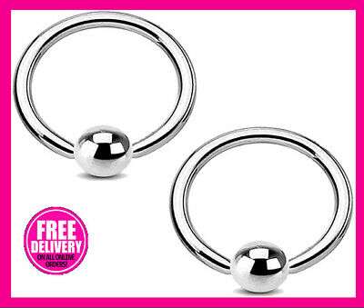 Ball Closure Ring Captive Bead Ring BCR Lip Nose Ear Tragus Piercing CBR Silver • 0.99£