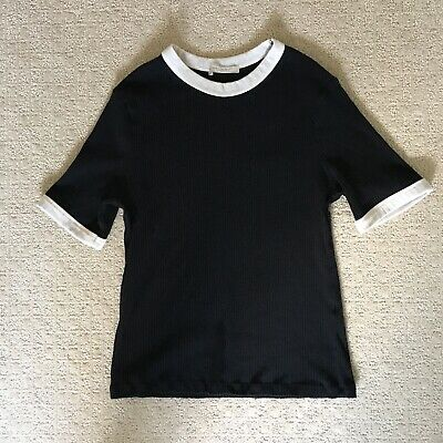$10 • Buy Zara Black Cream Contrast Trim Ribbed Top Large