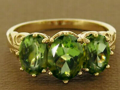 AU443.81 • Buy R097 Genuine 9ct Yellow Gold Natural Peridot 3-stone Trilogy Ring In Your Size