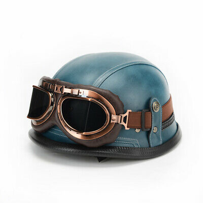 $59 • Buy Military Leather Motorcycle Helmet Open Face DOT Size 56-60CM
