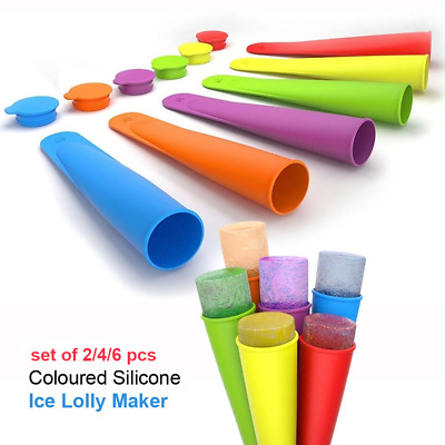 Ice Lolly Moulds 2-6 Pcs Food Grade Silicone Thick Long Lasting Reusable Yogurt • 3.95£
