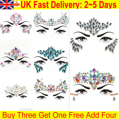 Face Gems Adhesive Glitter Jewel Tattoo Sticker Festival Rave Body Make Up Party • 2.69£