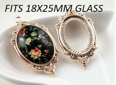 £4.95 • Buy 4 X Rose Gold Oval Cabochon Pendant Cameo SETTING   Fits 18x25mm