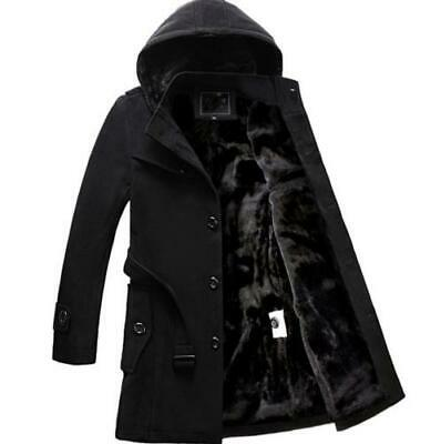 $57.47 • Buy Fashion Mens Hooded Faux Fur Lined Winter Warm Trench Coat Outwear Thick Jackets