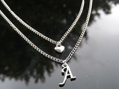 £2.50 • Buy Personalised Initial Silver Plated Multi Layer Necklace With Heart & Letter