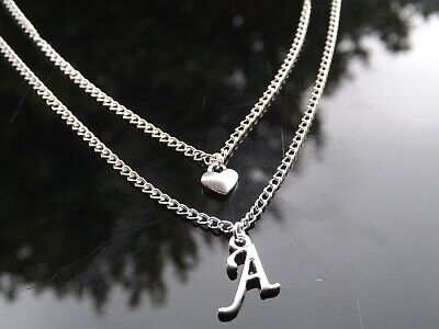 £3 • Buy Silver Plated Multi Layer Necklace With Heart & Initial Letter 16-30 Inch Long