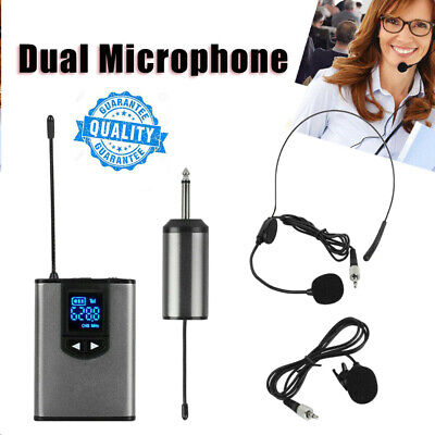 Wireless Microphone Lavalier Lapel Mic Mini Receiver Transmitter Headset Set UK • 26.07£