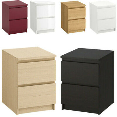 IKEA MALM Wooden 2-Drawer Chest Bedroom Bedside Table Smooth-Running 40x55 Cm • 79.99£