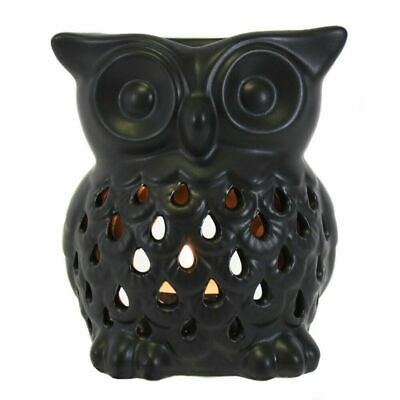 Black Owl Oil Burner Ceramic Wax Melter Essential Aromatherapy Home  • 3.99£