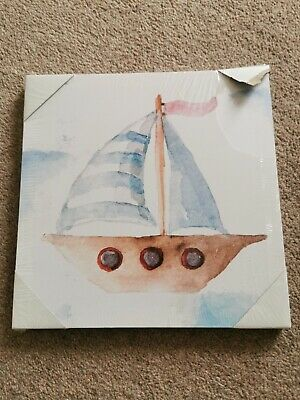 NAUTICAL BEACH THEME SAILING BOAT HANGING CANVAS Picture Kids Bedroom Decoration • 6£