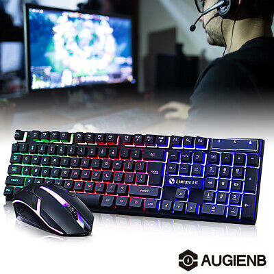 AU26.24 • Buy Honana Rainbow Backlight Gaming Keyboard + Wired Mouse USB PC Laptop Game AU