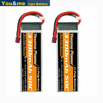AU62.99 • Buy 2pcs 11.1V 3S 3300mAh LiPo Battery 50C Deans For RC Car Helicopter Airplane Quad