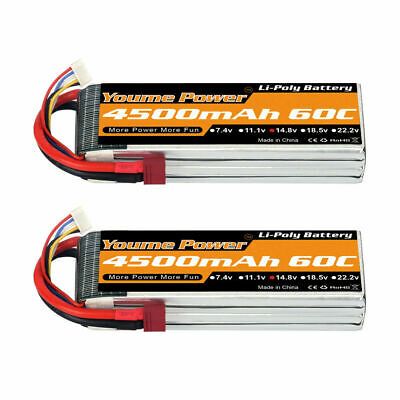 AU99.99 • Buy 2pcs 14.8V 4S 4500mAh LiPo Battery 60C Deans For RC Car Helicopter Airplane Quad