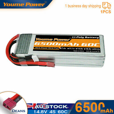 AU73.99 • Buy 14.8V 4S 6500mAh LiPo Battery 60C Deans For RC Truck Helicopter Airplane Quad