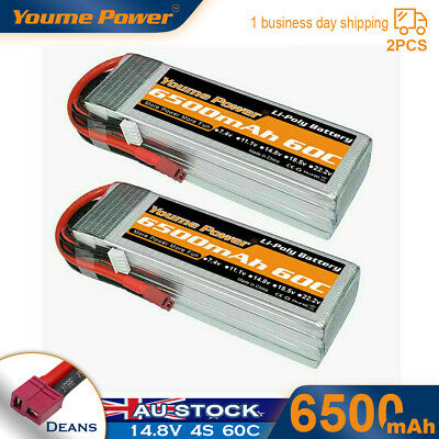 AU131.99 • Buy 2x 14.8V 4S 6500mAh LiPo Battery 60C Deans For RC Truck Helicopter Airplane Quad