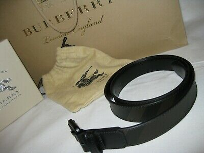 Genuine Burberry Stealth Check Leather Belt & Buckle 36/90 • 125.25£