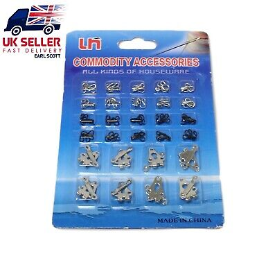 £5.95 • Buy 28 SET Trouser Skirts Hooks And Bars Eyes Fasteners SEW ON REPLACEMENT REPAIR UK