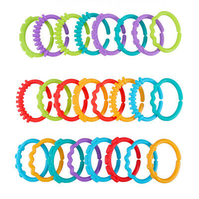 24pcs Colorful Teether Ring Links Plastic Baby Kids Infant Stroller Play Mat Toy • 4.89£