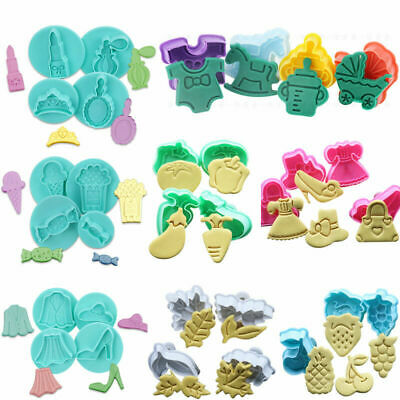 £3.99 • Buy 4Pcs Sugarcraft Cake Cookies Fondant Plunger Decorating Cutters Tools Mold