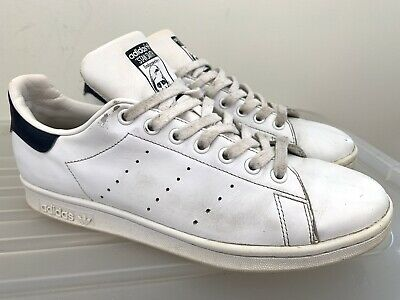 AU30 • Buy Mens ADIDAS Stan Smith White Navy Blue Sneakers Sz US 9 #17348