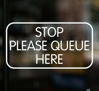 £3.99 • Buy STOP PLEASE QUEUE HERE Chip Shop Sign Window Glass Sticker Cafe Pub Restaurant