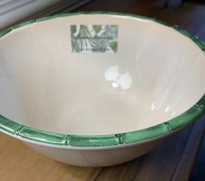 $29 • Buy FREE SHIPPING 10  Salad/Serving Bowl Tommy Bahama WHITE/Green Bamboo MELAMINE