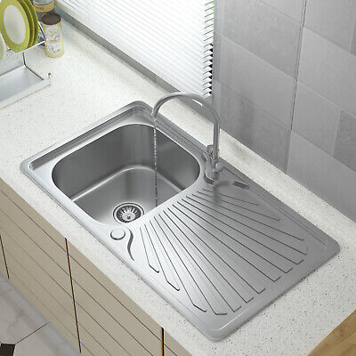 Stainless Steel Kitchen Sink Commercial Catering Single Double Bowl Drainer Kit • 50.99£