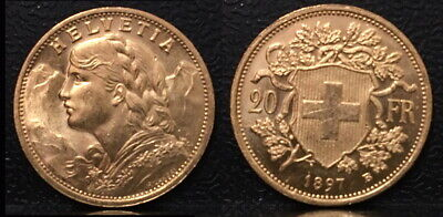 $479.99 • Buy Swiss 1897 Lustrous Bu--very Rare Early Date Coin Scarce Near Melt Gold 20 Franc