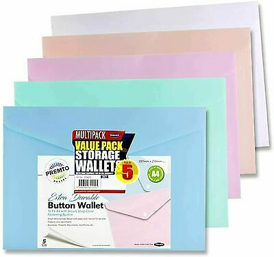 £4.15 • Buy A4 Pastel Stud Wallets Assorted Colours Document Folders Button File - Pack 5