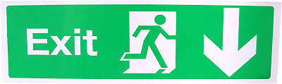 Fire Exit Escape Green Man Vinyl Adhesive Label Sticker Safety Sign Down LG290 • 2.49£