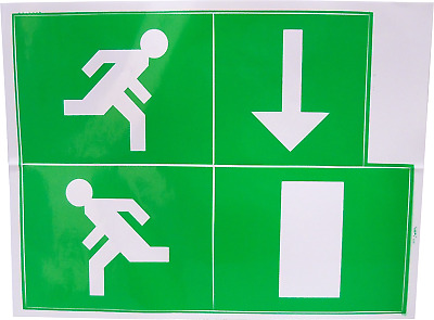 Fire Exit Escape Green Man Vinyl Adhesive Label Sticker Safety Sign Down LG230S • 2.39£