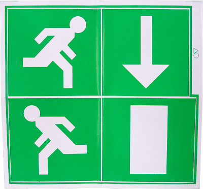 Fire Exit Escape Green Man Vinyl Adhesive Label Sticker Safety Sign Down LG230L • 2.39£